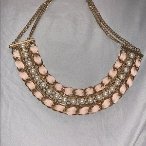 Accessories - Beautiful gold necklace with pink ribbon & pearls